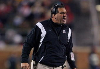 MUNCIE, IN - NOVEMBER 25:  Head coach Brady Hoke of the Ball State Cardinals stands on the field during the Mid-American Conference (MAC) game against the Western Michigan Broncos at Scheumann Stadium November 25, 2008 in Muncie, Indiana.  (Photo by Andy Lyons/Getty Images)