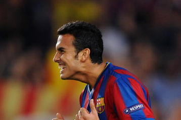 BARCELONA, SPAIN - SEPTEMBER 29:  Pedro Rodriguez of Barcelona celebrates scoring his sides second goal during the Champions League group F match between Barcelona and Dynamo Kiev at the Camp Nou Stadium on September 29, 2009 in Barcelona, Spain. Barcelona won the match 2-1.  (Photo by Jasper Juinen/Getty Images)