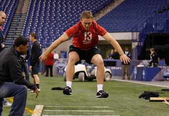 INDIANAPOLIS, IN - FEBRUARY 28: Quarterback Colt McCoy of Texas performs the long jump during the NFL Scouting Combine presented by Under Armour at Lucas Oil Stadium on February 28, 2010 in Indianapolis, Indiana. (Photo by Scott Boehm/Getty Images)