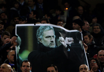 MILAN, ITALY - FEBRUARY 24:  The Inter fans show off a Jose Mourinho banner during the UEFA Champions League Round of 16 first leg match between Inter Milan and Chelsea at the San Siro Stadium on February 24, 2010 in Milan, Italy. (Photo by Michael Steele/Getty Images)